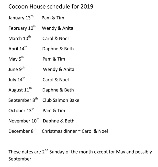 2019 cocoon house schedule